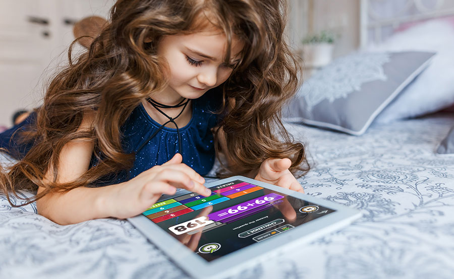 Pupil playing NumBots at home